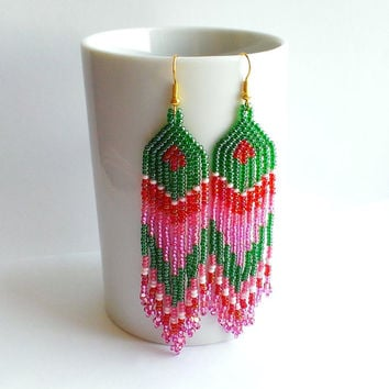 Seed Bead Long Earrings-Ethnic Style Dangle Beaded Earrings Wirh Fringe-Long Dangles-Traditional Beadwork-Green Pink Rose Earrings