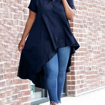 New Deep Blue Swallowtail Irregular Single Breasted Turndown Collar High-low Casual Blouse
