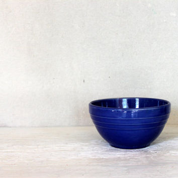 vintage yellow ware bowl in blue // pottery mixing bowl // 1920s 1930s
