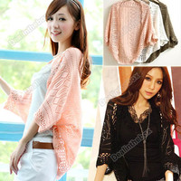 B5UT Women's Batwing Cardigan Deer Pattern Sweater Knitwear JACKET