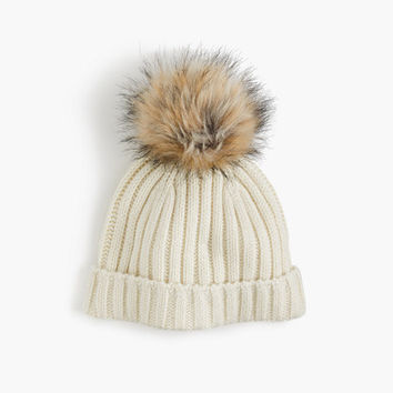 Ribbed hat with faux-fur pom-pom - scarves, hats & gloves -Women- J.Crew