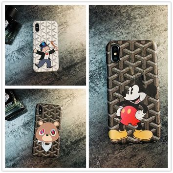 luxury brand Mickey Mouse cover case for iphone 7 7plus 6 6s 8 plus X 10 Business Leather Style Hard PC Cover Coque Fundas