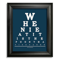 Ron Swanson, When I Eat It Is The Food That Is Scared Eye Chart, 8 x 10 Giclee Print BUY 2 GET 1 FREE