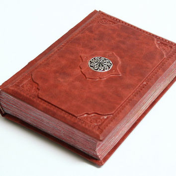 Red leather  journal-Magic red  vintage style 8.1''x5.7'' (20,5x14,5 cm)
