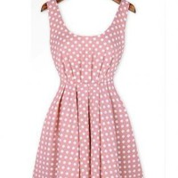 Polka Dot Bowknot Backless Strap Dresses