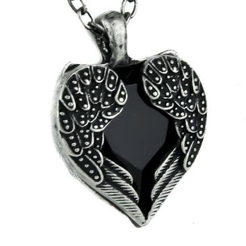 ac spbest Black Stone Heart Necklace with Gothic Wings