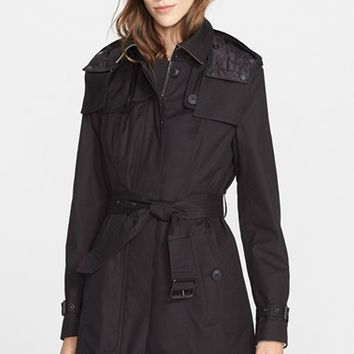 Women's Burberry Brit 'Fenstone' Single Breasted Trench Coat with Detachable Hood & Liner,