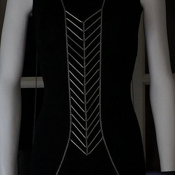 Body Chain Geometric Chevron Silver Armor Designer Runway Fashion Statement Draping Metal Chains Avant Garde