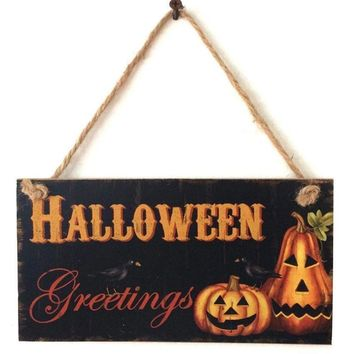 Rustic Wooden Plaque Wall Sign Haing Board Bar Home Wall Decoration Halloween Party Decoation Pumpkin Wall Hanging Board FES097