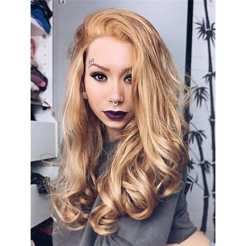 Long Honey Blonde Highlight Wave Synthetic Lace Front Wig