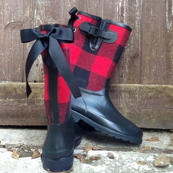 Custom Red and Black Plaid Rain Boots with Black Bows