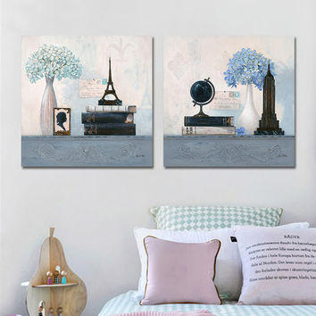 Abstract Canvas Art Oil Painting Unframed Wall Art Painting Posters and Prints Vintage Wall Pictures for Bedroom 2 Pieces