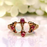 Antique Opal Ring Alternative Engagement Ring 14K Yellow Gold Victorian Antique Wedding Ring Size 6.5