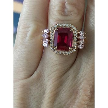 SALE  14K Rose Gold Natural 8.5CT Emerald Cut Red Ruby Halo Pink Sapphire Engagement Ring