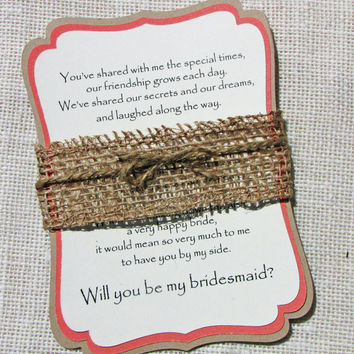 Rustic Will You Be My Bridesmaid...Set of 4