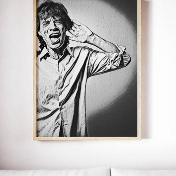 Rolling Stones Poster Mick Jagger Art Painting