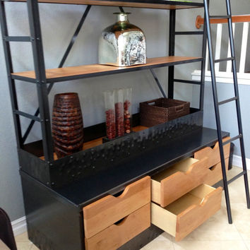 Etagere / Bookcase - Extra Tall Shelving Unit with Drawers and Ladder