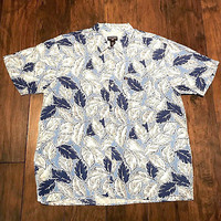 Vintage 90s Polo Jeans Co Ralph Lauren Blue White Hawaiian Aloha Shirt Men Large