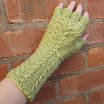 Green cable pattern half-fingerless gloves - medium length arm warmers - one size