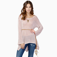 Long Sleeve Knitted Asymmetrical Top