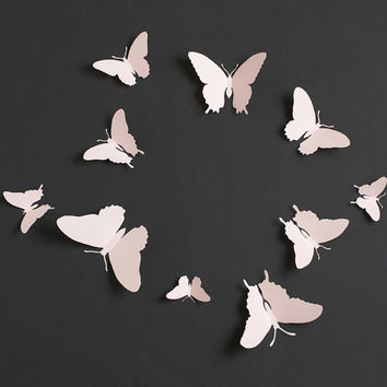 3D Wall Butterflies: 3D Butterfly Wall Art for Nursery, Girl's Room in Light Pink
