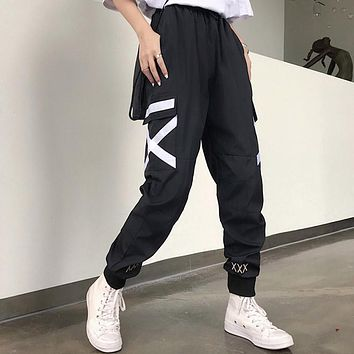Hot Big Pockets Cargo pants women High Waist Loose Streetwear pants Baggy Tactical