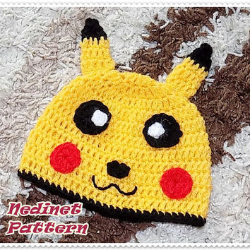 CROCHET PATTERN Pokemon-Pikachu inspired crochet hat, Pdf Pattern, baby to adult hat