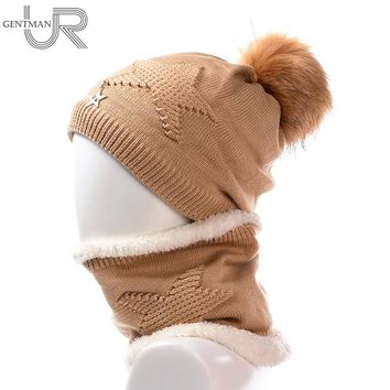 Newest Women Soft Winter Hat And Neck Collar Scarf Five Star Knitted Hat Fashion Pomspoms Hats For Women Add Fur Warm Beanie Cap