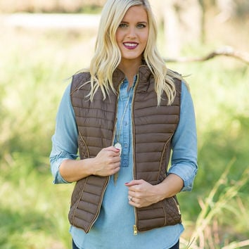 Moving Mountains Quilted Vest - Brown