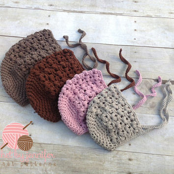Crochet Pattern for Puff Stitch Baby Bonnet Hat - 4 sizes, newborn to toddler- Welcome to sell finished items
