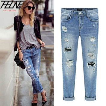 Spring New Women Jeans Ripped Holes Fashion Straight Full Length Mid Waist Famale Washed Denim Pants = 1930025220