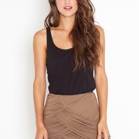 Ruched Drape Skirt - Mocha in  Clothes Bottoms Skirts at Nasty Gal