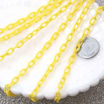 7mm Delicate Plastic Yellow Chain - 55 inches or 140 cm - 2 pieces - NEW longer length