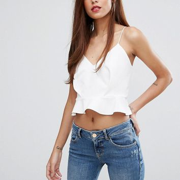River Island Frill Edge Strappy Crop Top at asos.com