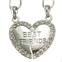 Best Friends Forever BFF Heart Necklace Two Pendant Charm Clear Rhinestone Teens Girls Engraved Letters