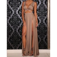 Stylish Plunging Neckline Hollow Out Solid Color Side Slit Dress For Women