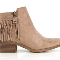 City Classified Bean Fringe Ankle Boots in Taupe BEAN-S-TAUPE