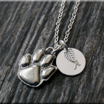 Silver Paw Print Charm Necklace, Initial Charm Necklace, Personalized, Paw Pendant, Dog Lover Jewelry, Monogram Necklace, Paw Necklace