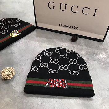 GUCCI Woman Fashion Beanies Winter Embroidery LOGO Hat Cap
