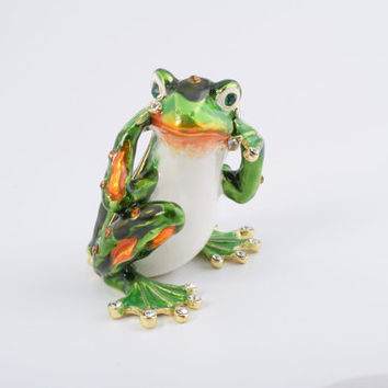Green Frog Hear No Evil Faberge Styled Trinket Box Handmade by Keren Kopal Enamel Painted Decorated with Swarovski Crystals
