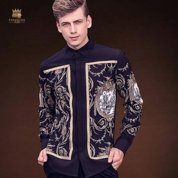 Fanzhuan Free Shipping New Male fashion men's casual 2017 autumn winter shirts original design printed shirt 713208 palace