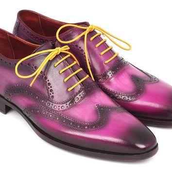 Paul Parkman Men's Wingtip Oxfords Lilac Handpainted Calfskin Shoes (ID#228-LIL)
