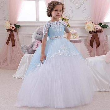 Sweet Tulle Ball Gown Half Sleeves Light Blue Open Back Gorgeous Scoop Chapel Train Little Bridesmaid Wedding Flower Dress