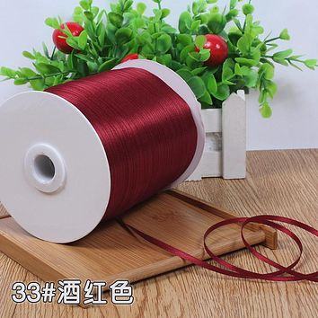 Hot Burgundy color Satin Ribbons 3mm Width 10 Meters Apparel Sewing Fabric DIY Gift Packaging Wedding Decoration Tapes Ribbons