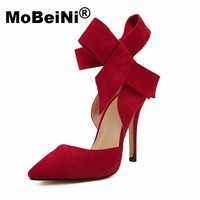 MoBeiNi 2017 New Women Plus Size Big Bow Tie Pumps Butterfly Pointed Stiletto Pointed Toe Woman Wedding High Heels Shoes Bowknot