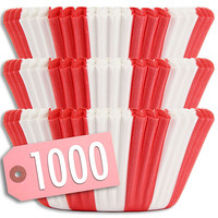 Red Circus Stripe Baking Cups 1000