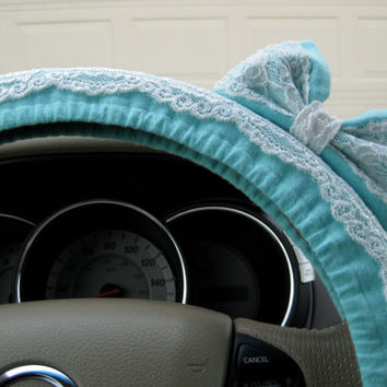 The Original Tiffany Blue & Lace Steering Wheel Cover with Matching Bow