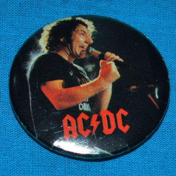 Vintage 80s AC/DC Brian Johnson Button Pinback Badge Pin