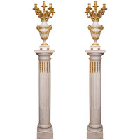Pair of Antique Carrara Marble and Ormolu Pedestals and Urns, circa 1850