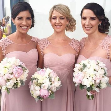 2017 Long Bridesmaid Dresses Scoop Neck Chiffon A-lline Dusty Rose Pink Maid of Honor Dresses Wedding Party Gowns